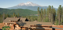 mt shasta from above the roof of the cabin