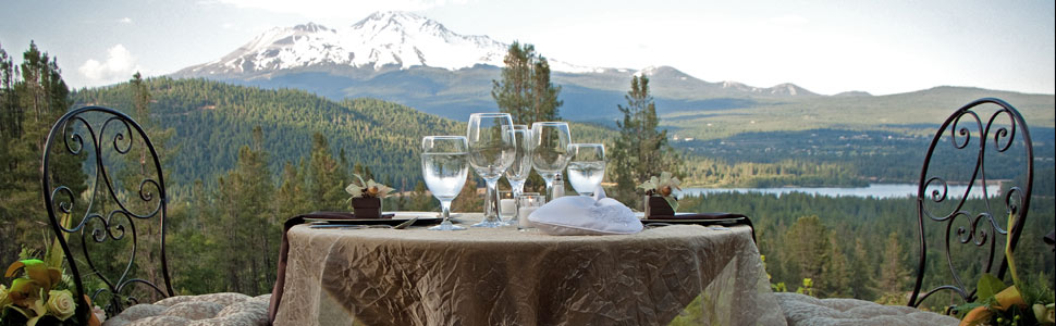 Special wedding events with Mt Shasta in the background