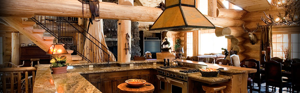 Log cabin kitchen built for a gourmet chef