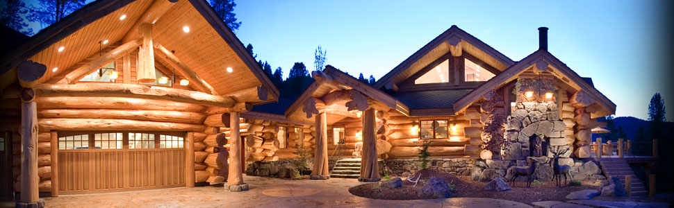 Amazing log cabin rental parking and entryway